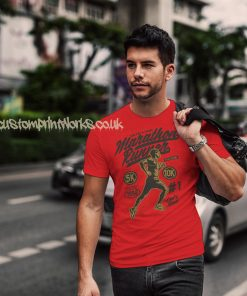 marathon runner t-shirt in red with gold