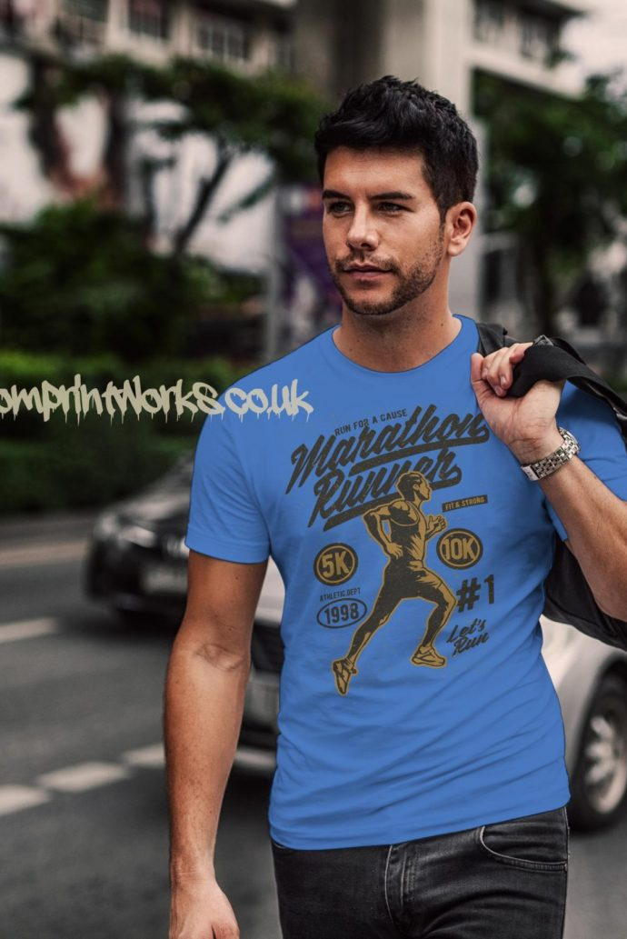 marathon runner t-shirt in sky blue with gold