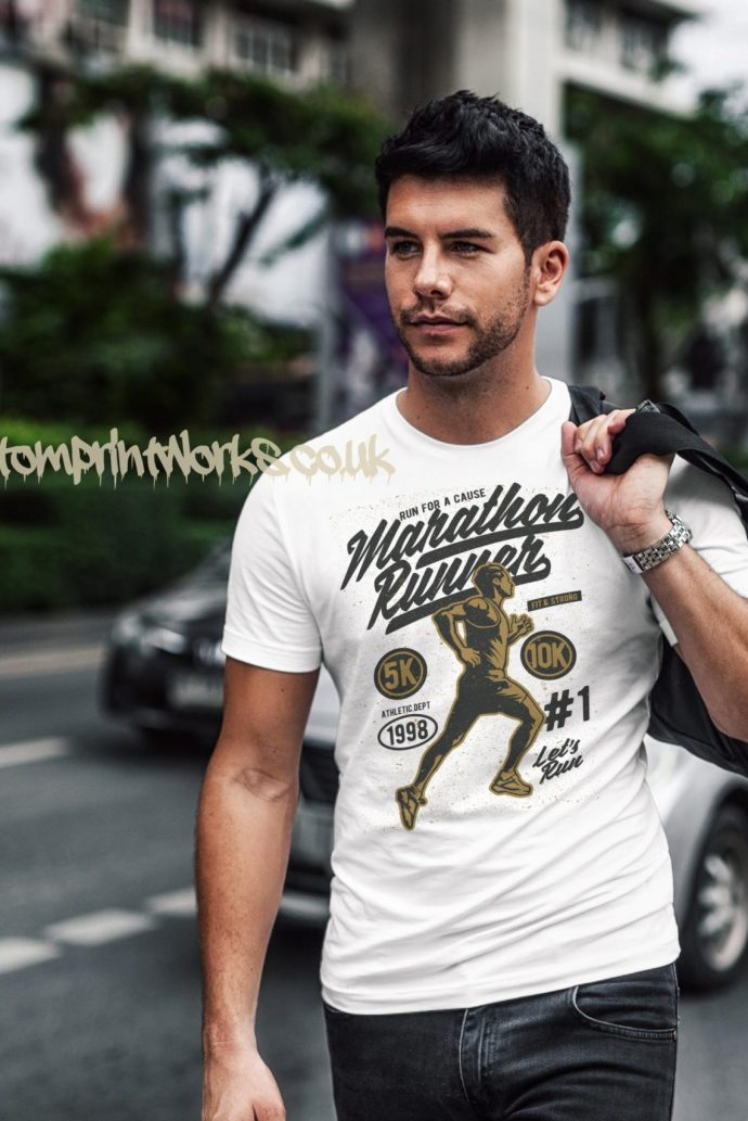 marathon runner t-shirt in white with gold