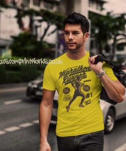 marathon runner t-shirt in yellow with gold