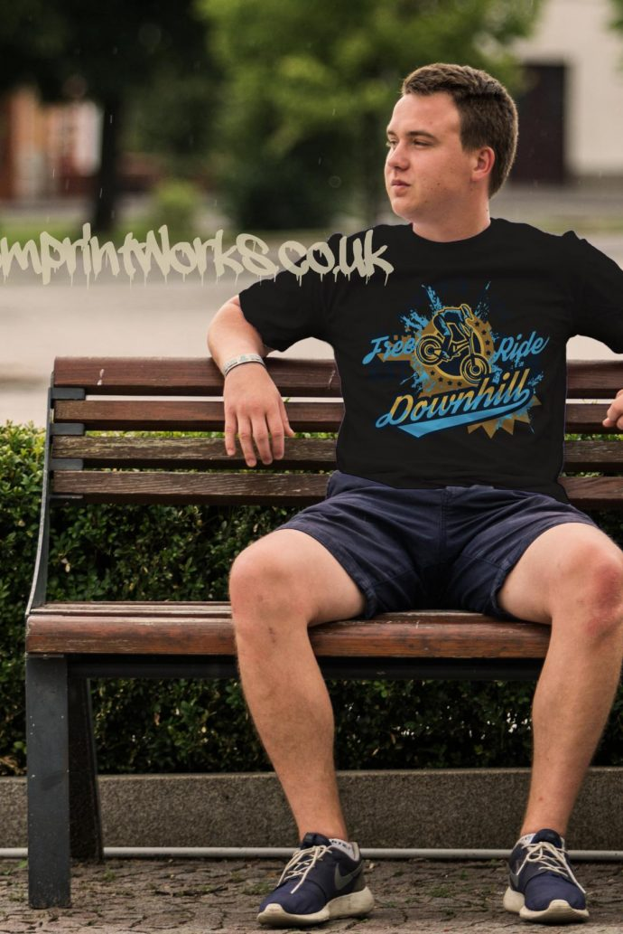 mens downhill mountain bike t-shirt in black with blue and gold print
