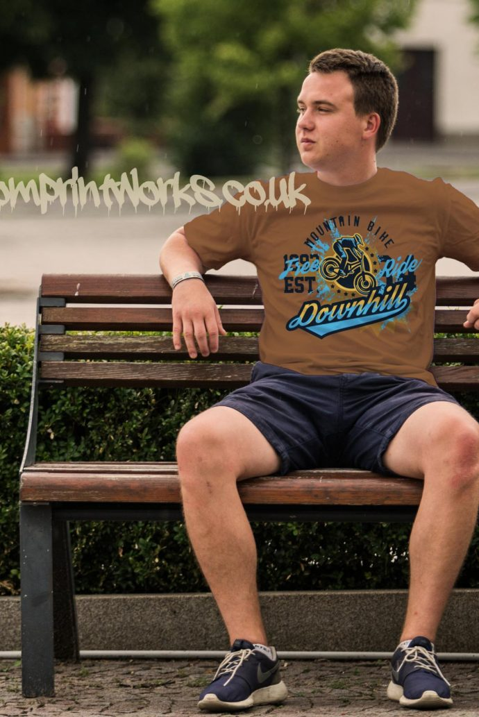 mens downhill mountain bike t-shirt in brown with blue and gold print