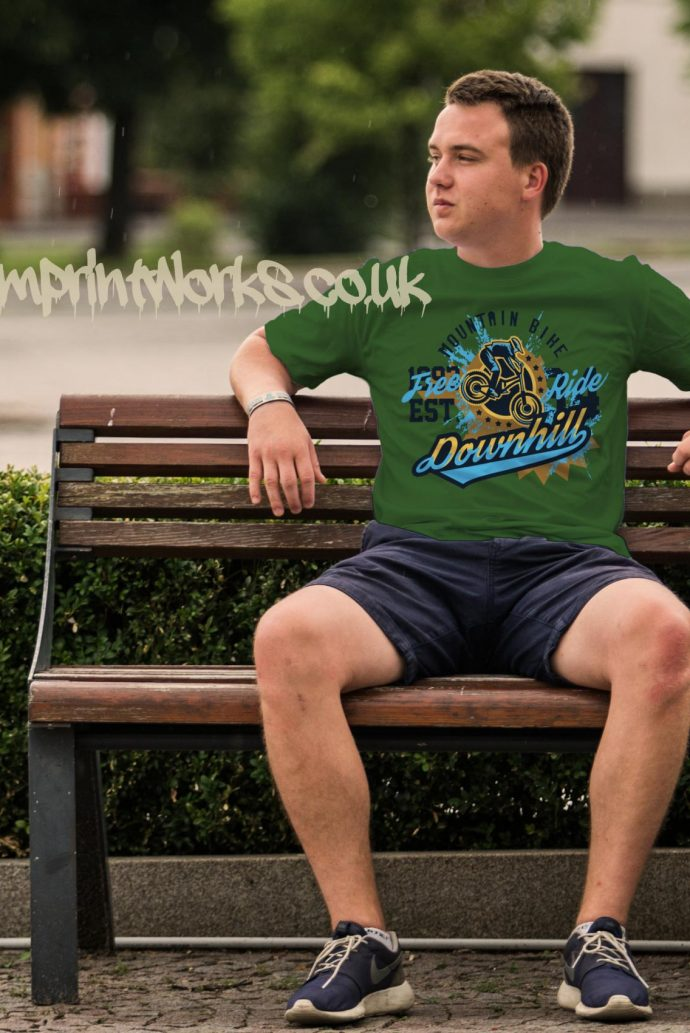 mens downhill mountain bike t-shirt in green with blue and gold print