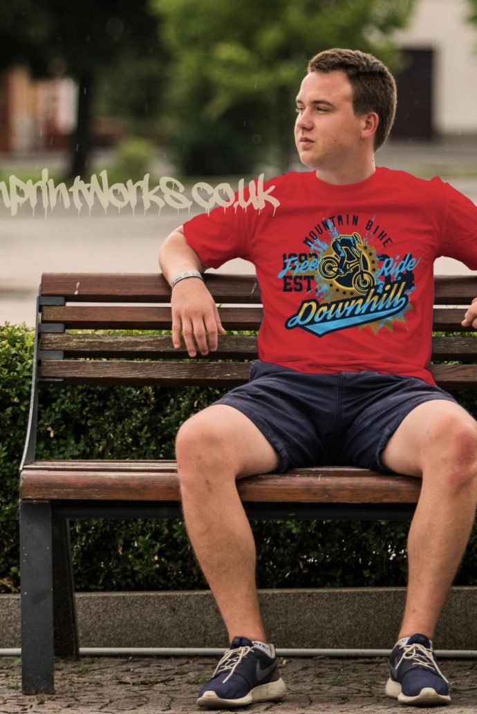 mens downhill mountain bike t-shirt in red with blue and gold print