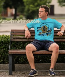 mens downhill mountain bike t-shirt in sky blue with blue and gold print