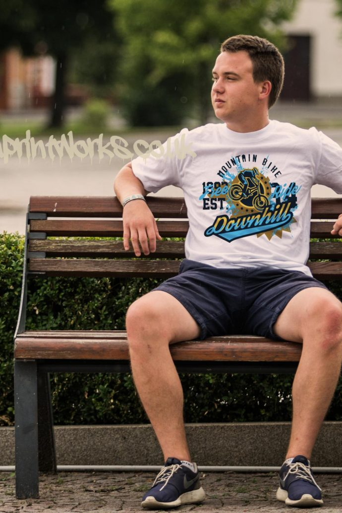 mens downhill mountain bike t-shirt in white with blue and gold print