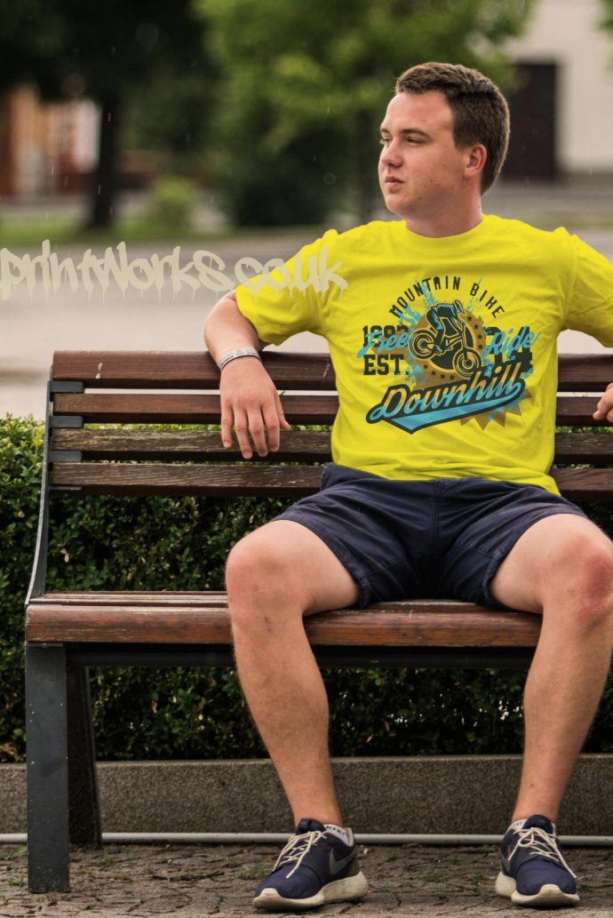 mens downhill mountain bike t-shirt in yellow with blue and gold print