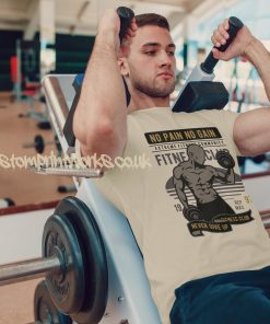 beige mens gym vest no pain no gain motto printed to chest