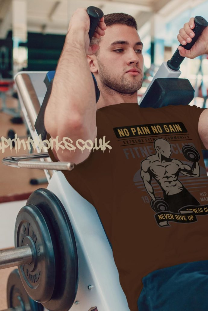 brown mens gym vest no pain no gain motto printed to chest