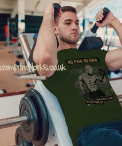 green mens gym vest no pain no gain motto printed to chest
