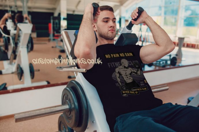 navy blue mens gym vest no pain no gain motto printed to chest