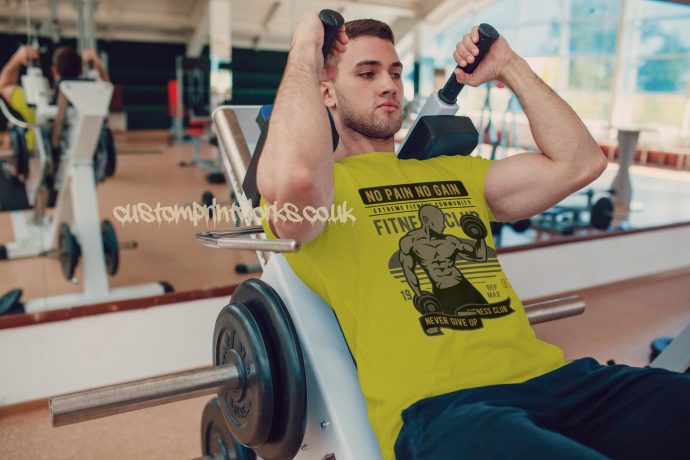 yellow mens gym vest no pain no gain motto printed to chest