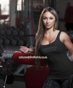 Womens personal trainer vest black personal trainer text on black vest