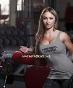 Womens personal trainer vest black personal trainer text on grey vest