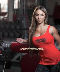 Womens personal trainer vest black personal trainer text on red vest