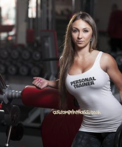 Womens personal trainer vest black personal trainer text on white vest
