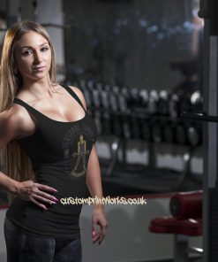 black personal trainer vest with woman holding a barbell