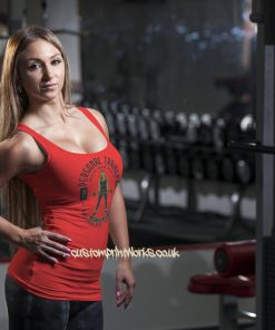 red personal trainer vest with woman holding a barbell