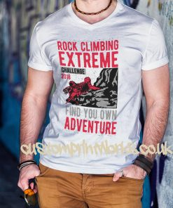 white rock climbing t-shirt