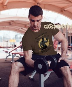 brown mens NYC gym t-shirt