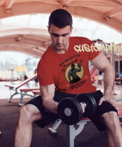 red mens NYC gym t-shirt