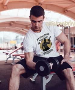 white mens NYC gym t-shirt