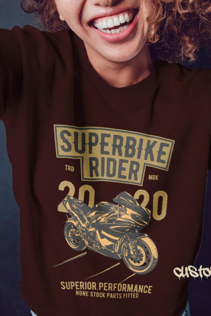 Super bike rider girls jumper in brown with gold and black print