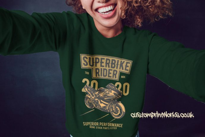 Super bike rider girls jumper in green with gold and black print