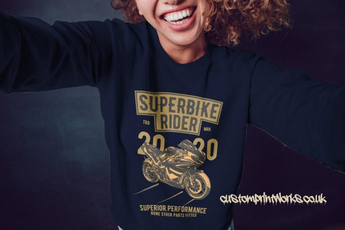 Super bike rider girls jumper in navy blue with gold and black print