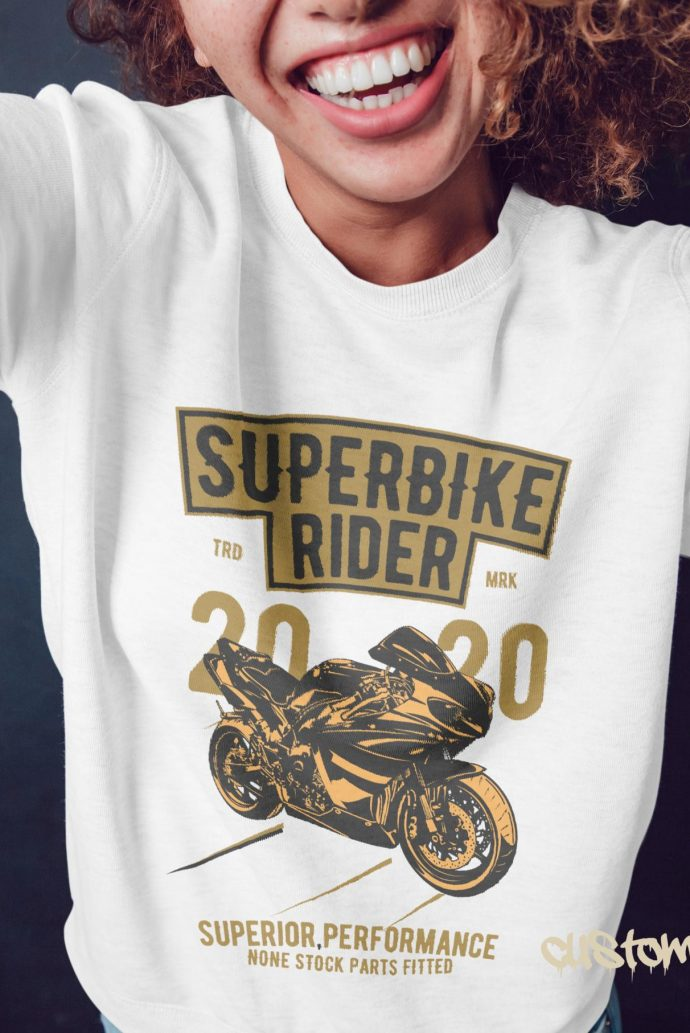 Super bike rider girls jumper in white with gold and black print
