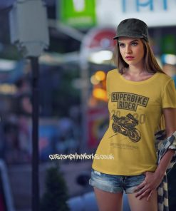 Womens superbike rider t-shirt in yellow