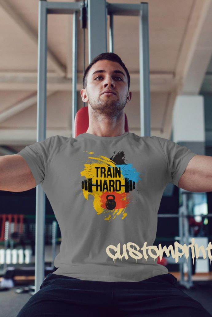 grey train hard gym t-shirt with kettlebell and barbell