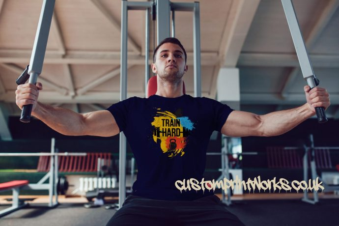 navy blue train hard gym t-shirt with kettlebell and barbell