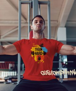 red train hard gym t-shirt with kettlebell and barbell