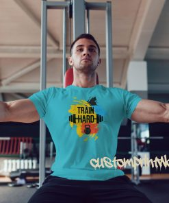 sky blue train hard gym t-shirt with kettlebell and barbell
