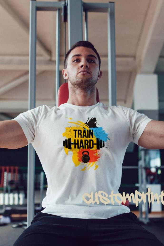 white train hard gym t-shirt with kettlebell and barbell