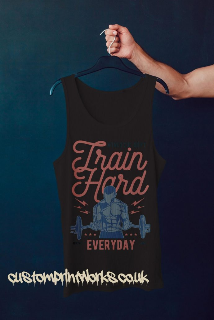 black gym vest with text train hard everyday