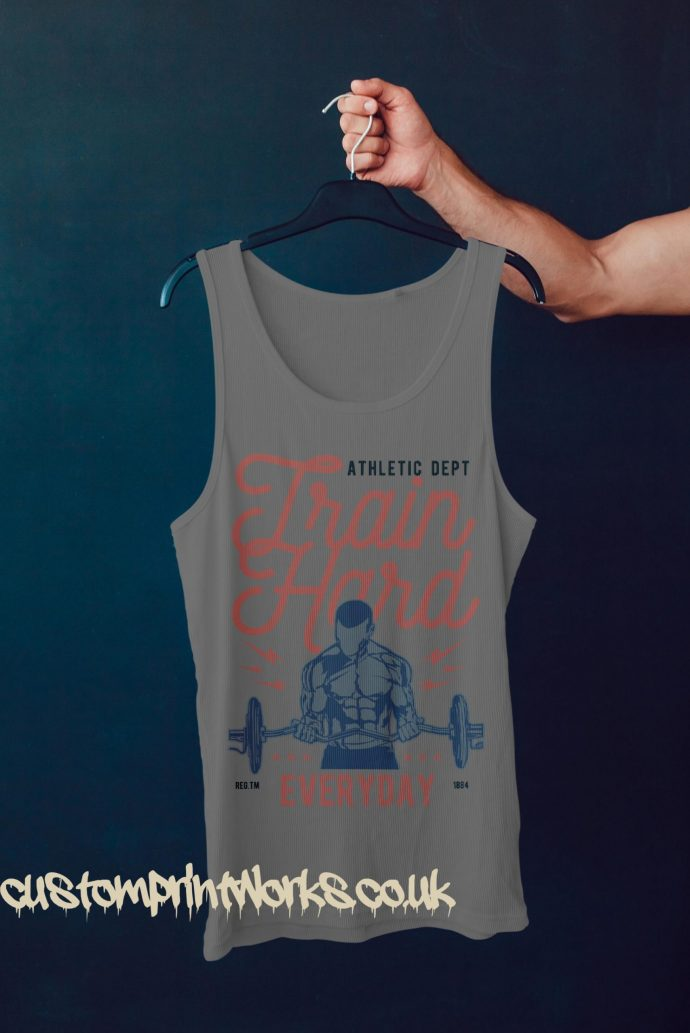 grey gym vest with text train hard everyday