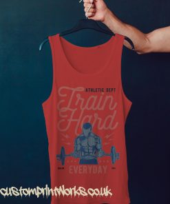 red gym vest with text train hard everyday