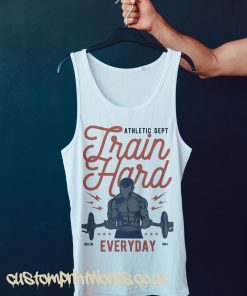 white gym vest with text train hard everyday