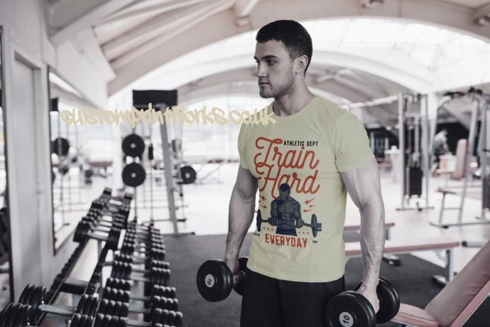 Mens beige gym t-shirt with text train hard everyday