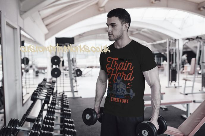 Mens black gym t-shirt with text train hard everyday