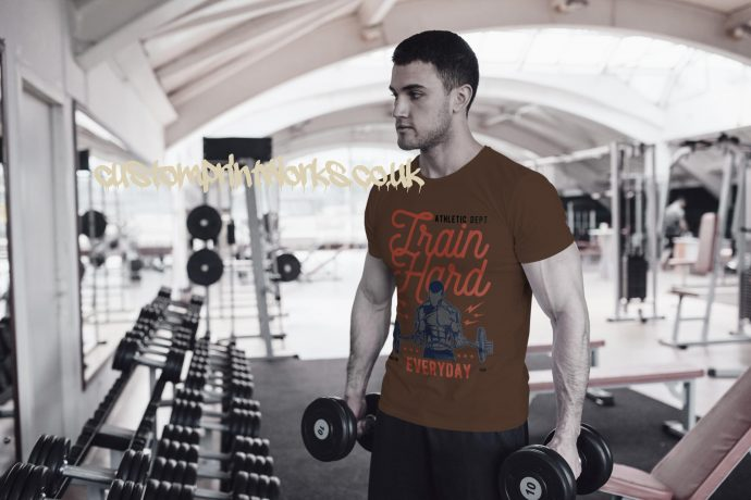 Mens brown gym t-shirt with text train hard everyday