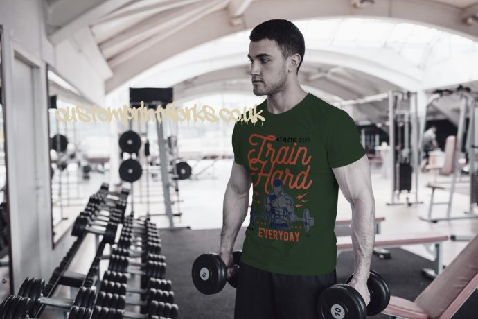 Mens green gym t-shirt with text train hard everyday