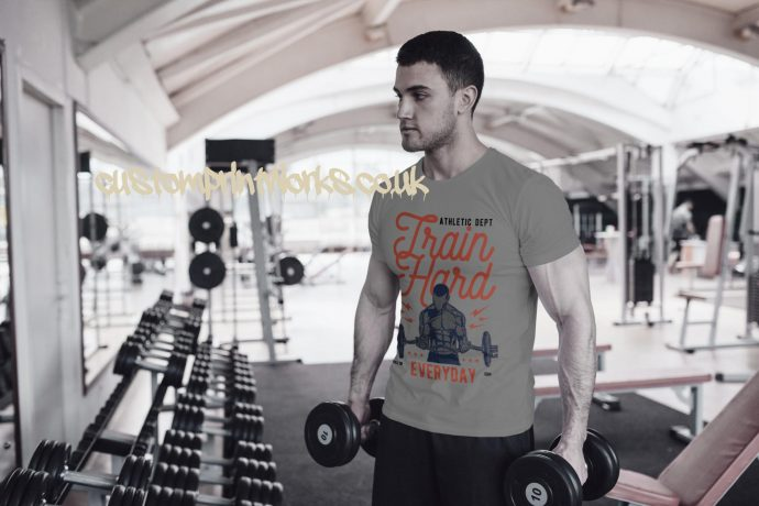 Mens grey gym t-shirt with text train hard everyday