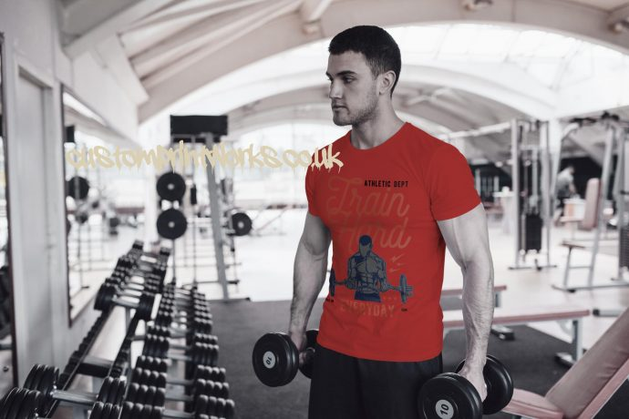 Mens red gym t-shirt with text train hard everyday