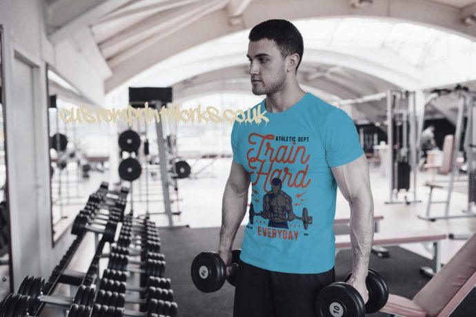 Mens sky blue gym t-shirt with text train hard everyday