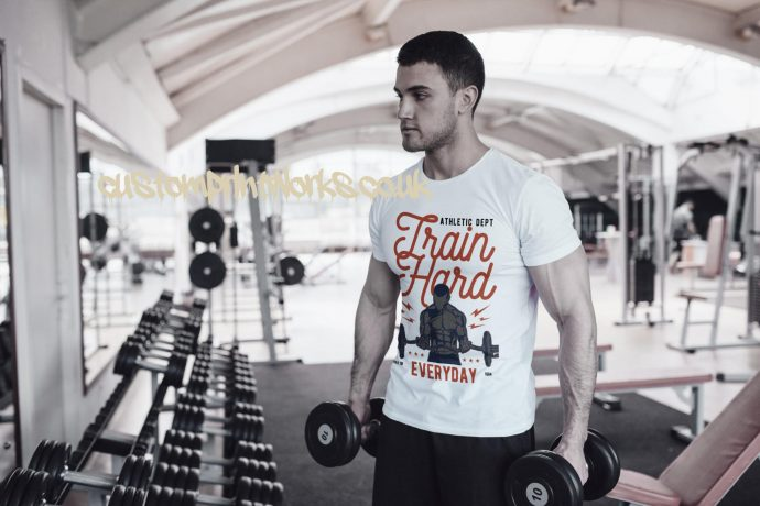 Mens white gym t-shirt with text train hard everyday