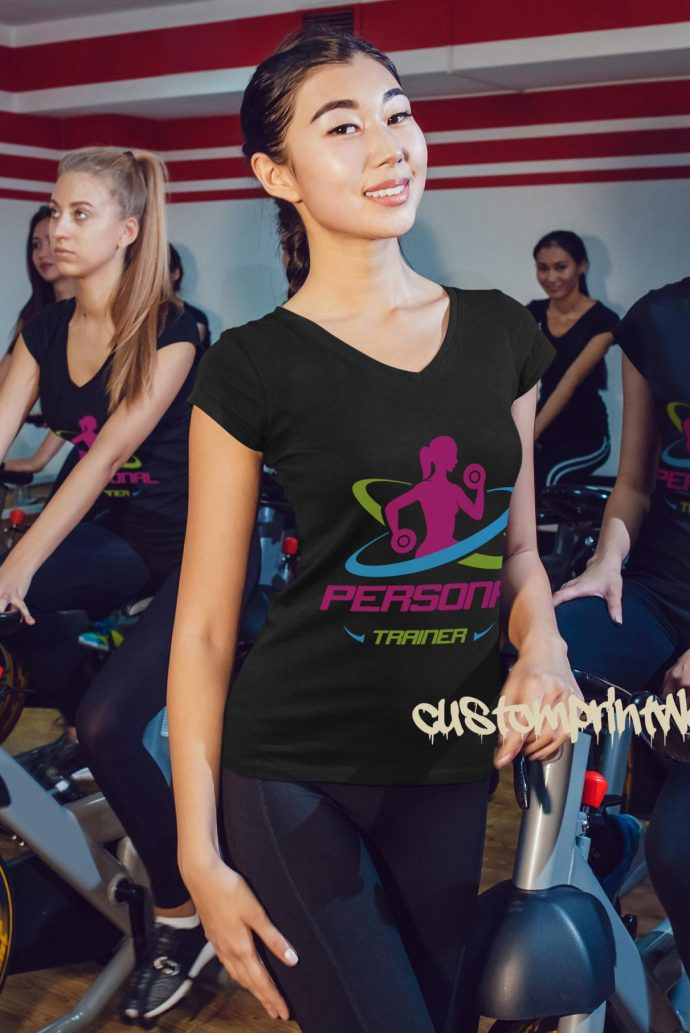 Personal trainer t-shirt in black with green, pink and purple logo