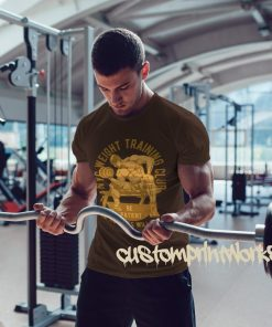 Mens weight training club t-shirt in brown
